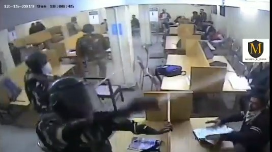 Shocking! Jamia Protesters Release CCTV Footage Of Delhi Cops Attacking Students In Library